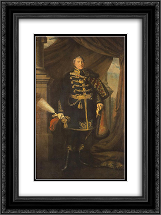 Portrait of Janos Buttler 18x24 Black or Gold Ornate Framed and Double Matted Art Print by Miklos Barabas