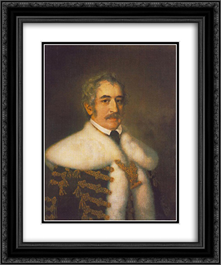Portrait of Jozsef Teleki 20x24 Black or Gold Ornate Framed and Double Matted Art Print by Miklos Barabas