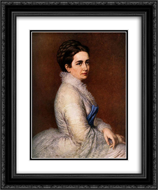 Portrait of Mrs. Istvan Bitto 20x24 Black or Gold Ornate Framed and Double Matted Art Print by Miklos Barabas