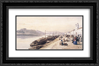 Quay of the Danube with Greek Church in 1843 24x16 Black or Gold Ornate Framed and Double Matted Art Print by Miklos Barabas