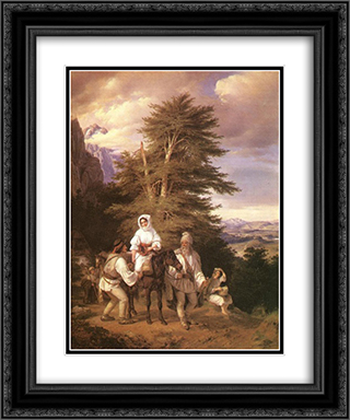 Romanian Family Going to the Fair 20x24 Black or Gold Ornate Framed and Double Matted Art Print by Miklos Barabas
