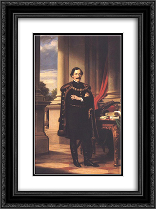 Standing Portrait of Laszlo Teleki 18x24 Black or Gold Ornate Framed and Double Matted Art Print by Miklos Barabas