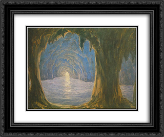 The Blue Grotto 24x20 Black or Gold Ornate Framed and Double Matted Art Print by Miklos Barabas