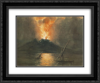 The Eruption of the Vesuv 24x20 Black or Gold Ornate Framed and Double Matted Art Print by Miklos Barabas