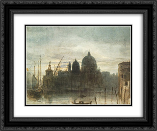 Venice at Dusk 24x20 Black or Gold Ornate Framed and Double Matted Art Print by Miklos Barabas