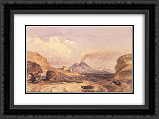 Vesuvius Seen from the Island of Capri 24x18 Black or Gold Ornate Framed and Double Matted Art Print by Miklos Barabas