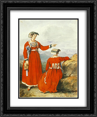 Women at Nettuno 20x24 Black or Gold Ornate Framed and Double Matted Art Print by Miklos Barabas
