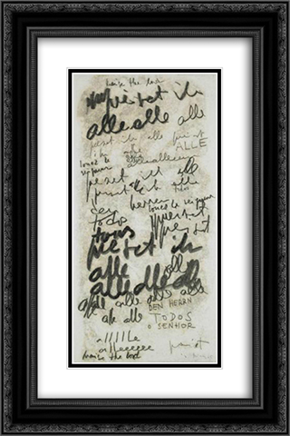 Untitled (Alle) 16x24 Black or Gold Ornate Framed and Double Matted Art Print by Mira Schendel