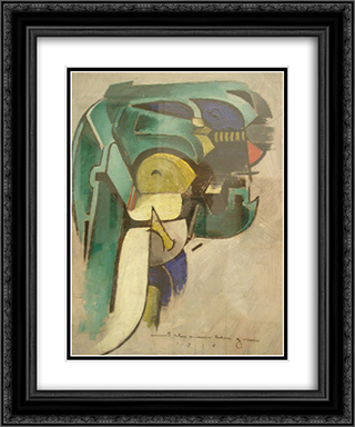 Painting IV (Mechanical Abstraction) 20x24 Black or Gold Ornate Framed and Double Matted Art Print by Morton Shamberg