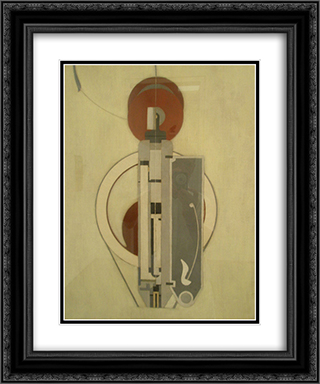 Painting VIII (Mechanical Abstraction) 20x24 Black or Gold Ornate Framed and Double Matted Art Print by Morton Shamberg