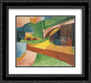 Untitled (Landscape with Bridge) 22x20 Black or Gold Ornate Framed and Double Matted Art Print by Morton Shamberg