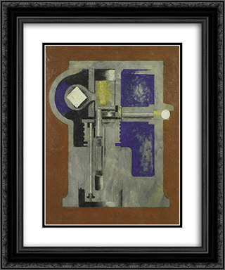 Untitled (Mechanical Abstraction) 20x24 Black or Gold Ornate Framed and Double Matted Art Print by Morton Shamberg