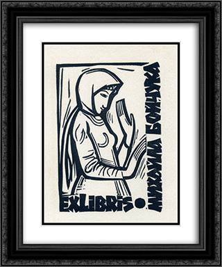 Exlibris 20x24 Black or Gold Ornate Framed and Double Matted Art Print by Mykhailo Boichuk