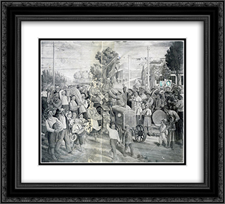 Frescoes of Kharkiv Chervonozavodsky theatre - The holiday of harvest 22x20 Black or Gold Ornate Framed and Double Matted Art Print by Mykhailo Boichuk