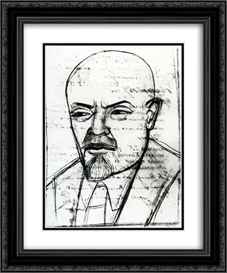 Portrait of Vladimir Lenin 20x24 Black or Gold Ornate Framed and Double Matted Art Print by Mykhailo Boichuk
