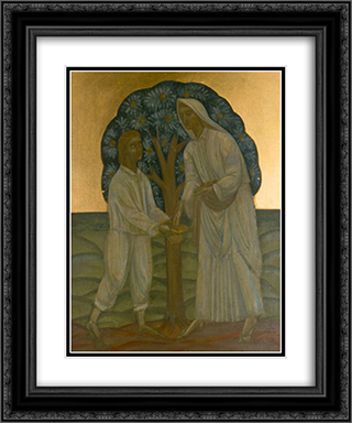 Two Under a Tree 20x24 Black or Gold Ornate Framed and Double Matted Art Print by Mykhailo Boichuk