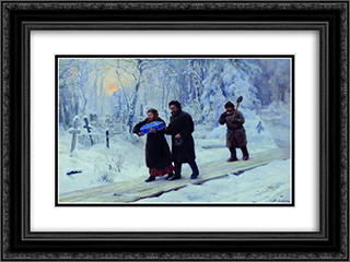 Funeral of Firstborn 24x18 Black or Gold Ornate Framed and Double Matted Art Print by Mykola Yaroshenko