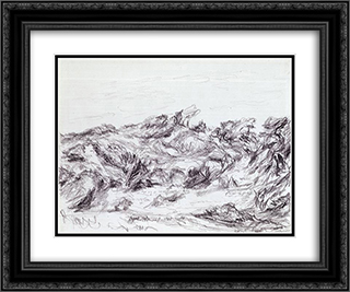 Untitled (Dunes with peaked brush) 24x20 Black or Gold Ornate Framed and Double Matted Art Print by Myron Stout