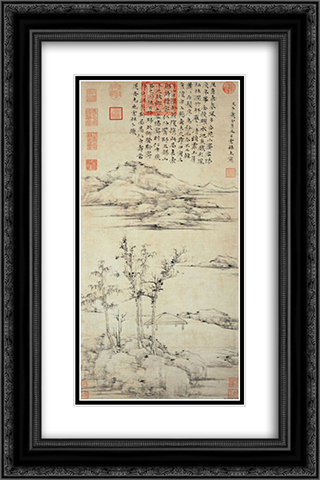 The Rongxi Studio 16x24 Black or Gold Ornate Framed and Double Matted Art Print by Ni Zan