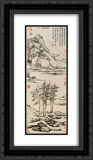 Trees in a River Valley in Yu shan 14x24 Black or Gold Ornate Framed and Double Matted Art Print by Ni Zan