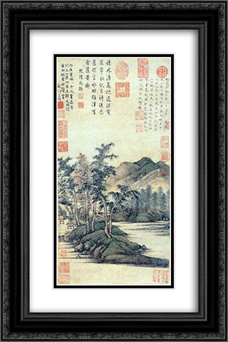 Water and Bamboo Dwelling 16x24 Black or Gold Ornate Framed and Double Matted Art Print by Ni Zan