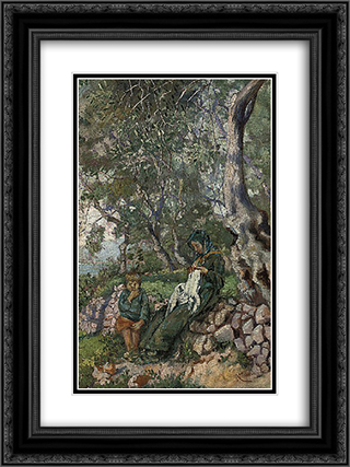 A mother and son seated by a wall before the sea 18x24 Black or Gold Ornate Framed and Double Matted Art Print by Niccolo Cannicci