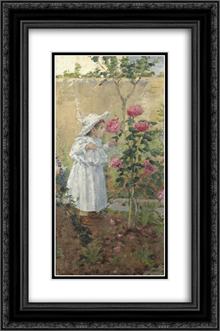 Bimba tra le rose 16x24 Black or Gold Ornate Framed and Double Matted Art Print by Niccolo Cannicci