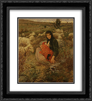 Inverno triste, firmato 20x22 Black or Gold Ornate Framed and Double Matted Art Print by Niccolo Cannicci