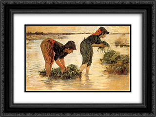 Le gramignaie al fiume 24x18 Black or Gold Ornate Framed and Double Matted Art Print by Niccolo Cannicci