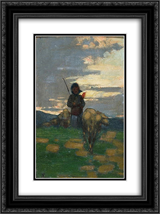 Shepherd with flock 18x24 Black or Gold Ornate Framed and Double Matted Art Print by Niccolo Cannicci