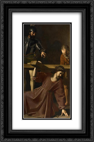 Christ Carrying the Cross 16x24 Black or Gold Ornate Framed and Double Matted Art Print by Nicolas Tournier