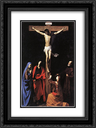 Christ on the Cross with the Virgin, Mary Magdalene, St. John and St. Francis of Paola 18x24 Black or Gold Ornate Framed and Double Matted Art Print by Nicolas Tournier