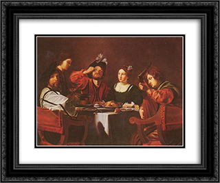 Company at the table 24x20 Black or Gold Ornate Framed and Double Matted Art Print by Nicolas Tournier