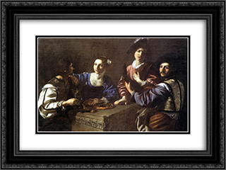 Drinking Party with a Lute Player 24x18 Black or Gold Ornate Framed and Double Matted Art Print by Nicolas Tournier