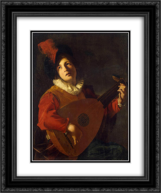 Lute Player 20x24 Black or Gold Ornate Framed and Double Matted Art Print by Nicolas Tournier