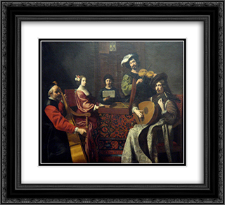 The Concert 22x20 Black or Gold Ornate Framed and Double Matted Art Print by Nicolas Tournier