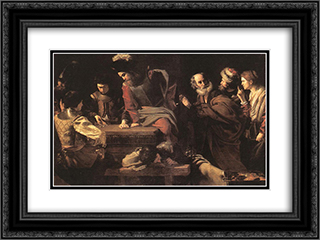 The Denial of St. Peter 24x18 Black or Gold Ornate Framed and Double Matted Art Print by Nicolas Tournier