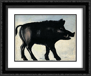 Boar 24x20 Black or Gold Ornate Framed and Double Matted Art Print by Niko Pirosmani