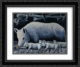 White sow with piglets 24x20 Black or Gold Ornate Framed and Double Matted Art Print by Niko Pirosmani