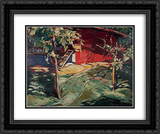 Red House - Karlovo 24x20 Black or Gold Ornate Framed and Double Matted Art Print by Nikola Tanev