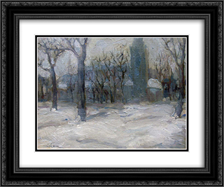 Winter in Innsbruck 24x20 Black or Gold Ornate Framed and Double Matted Art Print by Nikola Tanev