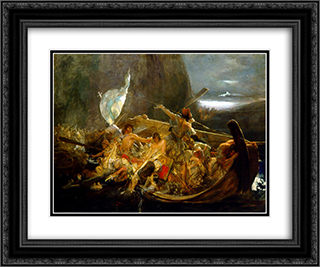After the destruction of Psara 24x20 Black or Gold Ornate Framed and Double Matted Art Print by Nikolaos Gyzis