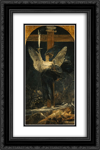 Archangel, study for the Foundation of Faith 16x24 Black or Gold Ornate Framed and Double Matted Art Print by Nikolaos Gyzis