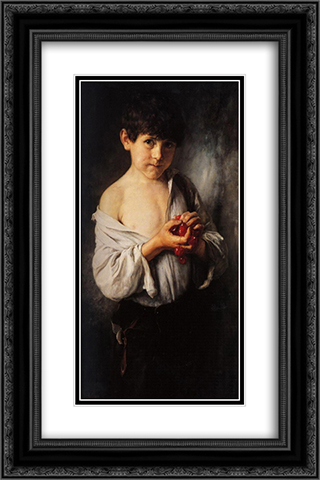 Boy with Cherries 16x24 Black or Gold Ornate Framed and Double Matted Art Print by Nikolaos Gyzis