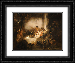Carnival in Athens 24x20 Black or Gold Ornate Framed and Double Matted Art Print by Nikolaos Gyzis