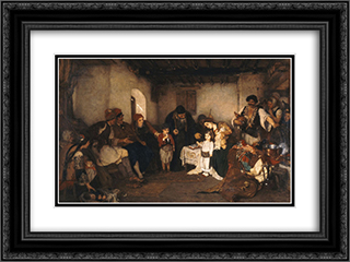 Children engagement 24x18 Black or Gold Ornate Framed and Double Matted Art Print by Nikolaos Gyzis