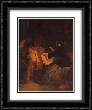 Eros and the painter 20x24 Black or Gold Ornate Framed and Double Matted Art Print by Nikolaos Gyzis