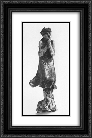 Girl getting cold 16x24 Black or Gold Ornate Framed and Double Matted Art Print by Nikolaos Gyzis