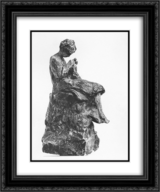 Girl knitting 20x24 Black or Gold Ornate Framed and Double Matted Art Print by Nikolaos Gyzis
