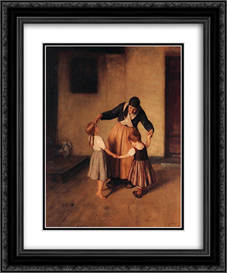 Grandma and Children 20x24 Black or Gold Ornate Framed and Double Matted Art Print by Nikolaos Gyzis